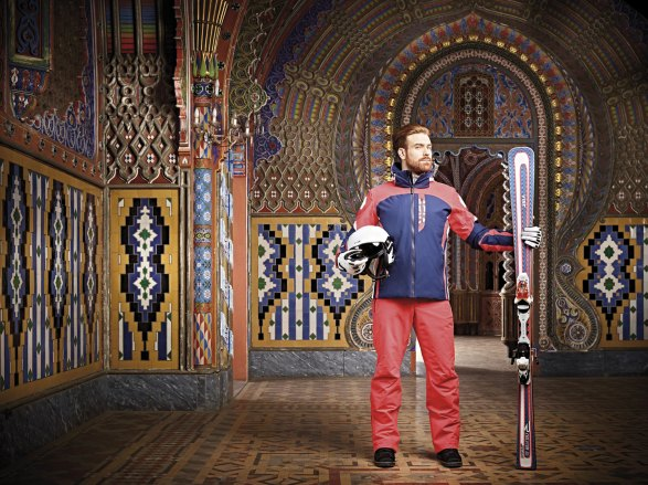 deep ocean Amerigo ski jacket - matching Luca ski pants Fulcrum helmet - Terra gloves - Revolution skis
