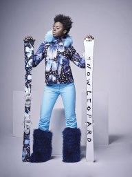 Anita ski jacket with removable collar and svarovski crystals - Lia black leopard pants