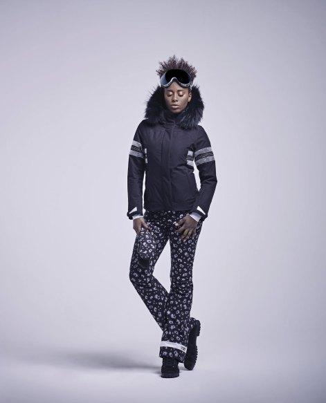 Anita ski jacket - LIA pants leopard black white