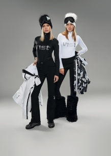 Guenda T-neck with Vist logo made with rhinestones,Harmony softshell ski pants and Hera leggings. Antea insulated ski jacket in white and with leo butterfly print.